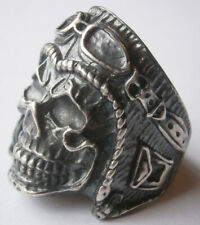 Men Punk Biker Ring Skull Glasses STERLING Silver 925 Male 20.8g Casting Jewelry