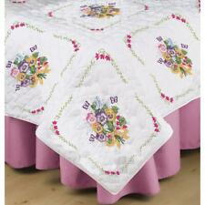 TOBIN Premium QUILT BLOCKS 6pc for Stamped Cross Stitch Embroidery PANSIES