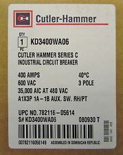 CUTLER HAMMER KD3400WA06 3 Pole 400 Amp Type KD Circuit Breaker 1A 1B Aux KD3400