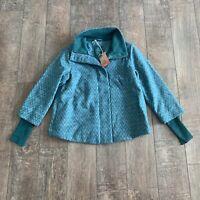 Prana Women's Lily Jacket Wool Full Zip Chevron Button Collar Deep Teal S NWT