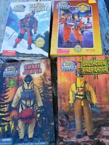 America's Finest smoke Jumper ,pilot, firefighter search rescue 4 action Figures