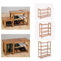 3 4 5 TIER BAMBOO SHOE RACK ORGANISER WOODEN STORAGE SHELVES STAND SHELF CORNER