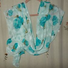 Teal Floral with Aqua Background, Silk Oblong Scarf