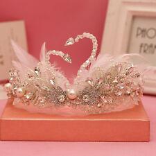 White Feather Swan Romantic Wedding Headband Crystal Pearl Beads Tiara Crowns