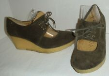 Clarks Originals Wms  9.5 Corduroy Wedge Heel Crepe Sole Lace Up Mary Jane olive