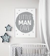 Little Man Cave Circle Grey Nursery Print Kids Room Boys Wall Art Picture Gift