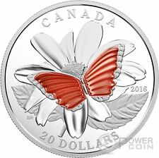 BUTTERFLY COLOURFUL WINGS Translucent Agate Silver Coin 20$ Canada 2016