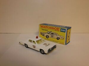 MATCHBOX TRANS. S/F NO.55-A MERCURY POLICE CAR RED ROOF LIGHT EARLY ISSUE BOX
