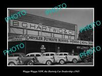 OLD LARGE HISTORIC PHOTO OF WAGGA WAGGA NSW, THE HARTWIG CAR DEALERSHIP c1945