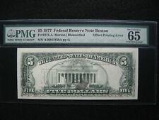 1977 $5 Federal Reserve Note Offset Printing Error Pmg 65 Epq