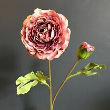Individual Antique Purple Ranunculus with Bud, Artificial Faux Silk Flowers