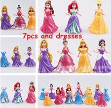 7PCS Princess Magiclip Aurora Belle Snow Ariel Rapunzel Cinderella Doll Figures
