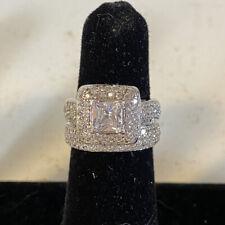 Vintage Sterling Cubic Zirconia Wedding Ring Set (Size 6)
