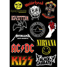 metallica pink floyd kiss acdc logo Skateboard Sticker Laptop Phone Luggage A4