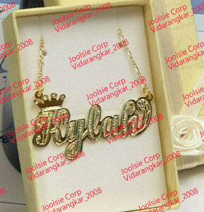 PERSONALIZED 14K GOLD PLATED SINGLE NAME PLATE CHAIN NECKLACE W/ ROLEX CROWN
