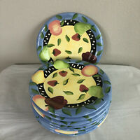 "Bella Casa by Ganz Dinner Plates China 10.5"" Set of 8 Blue Colorful Fruit Summer"