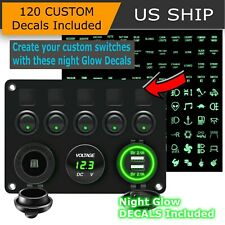 5 Gang Green LED Light ON-OFF Toggle Switch Control Panel For Car Boat Marine RV