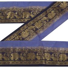 Sanskriti Vintage Blue Sari Border Woven Brocade  Craft Trim Sewing Lace