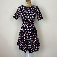 Next Petite Dress 6 Black Pink Aline Fit Flare Floral Skater Textured Stretch