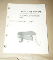 Sperry New Holland Manure Spreader 663 Operator's Manual P/N 43066310