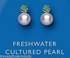 Smaragd Ohrringe Perlen Ohrringe Gelbgold Ohrstecker Süßwasserperle