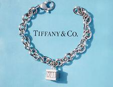 Tiffany & Co Notes ATLAS Box Charm 8 Inch Sterling Silver Padlock Bracelet