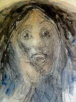KARL HOLSTEIN (1912-2003) Aquarell/Kohle Mischtechnik: SELTSAME GESTALT Portrait