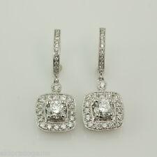3.50 CT. VS2-G DIAMOND HUGGIE EARRINGS HALO DESIGN DANGLE CHARM 14K WHITE GOLD