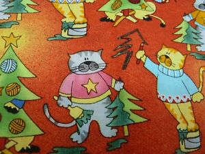 100% cotton Fabric - FQ -Cats and Christmas Trees on Orange