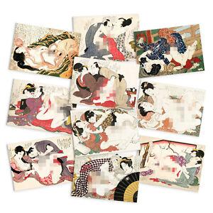 Shunga Erotic Japanese Art Postcards Card 10 Set Hokusai Octopus Ukiyo-e Cards