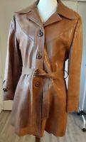 Vintage 60s 70s Ladies Leather Coat Jacket Hippy Boho  Very Retro