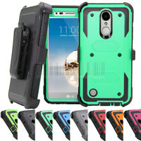 For LG Aristo MS210 LV3 Hybrid Rugged Holster Case Shockproof Armor Stand Cover