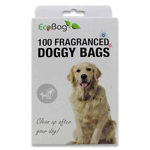 Eco Bag 100 Large Fragranced Doggy Bags Dog Poo Poop Waste Tie Handles Dispenser