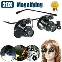 UK 20X Magnifier Magnifying Eye Glass Loupe Jeweler Watch Repair Kit With LED