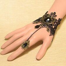 Lolita Black Jewelry Bangle Chain Lace Bracelets Beads Crystal Adjustable Ring