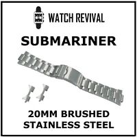 HIGH QUALITY 20MM BRUSHED STAINLESS STEEL BRACELET FOR ROLEX SUBMARINER GENTS