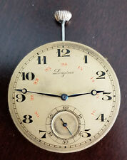 VINTAGE LONGINES POCKET WATCH MOVEMENT GRADE 19.79 ABC RUNNING STRONG 24HR DIAL