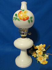 "VINTAGE WHITE MILK GLASS TABLE LAMP AND SHADE W YELLOW ORANGE FLOWER  19""  TALL"