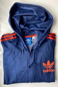 *VINTAGE* ADIDAS BIG TREFOIL Logo, Hoodie, Kapuzenjacke, 057538, XL, blau orange