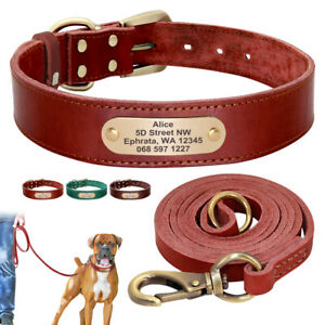 Custom Leather Dog Collar and Lead Set Personalised Pet Collar Engraved ID Name