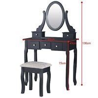 Shabby Chic Dressing Table Vanity Makeup Dresser Set 5 Drawers, 1 Mirrors, Stool