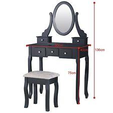 Panana Dressing Table 5 Drawers Stool Black Mirror Bedroom Makeup Desk Dresser