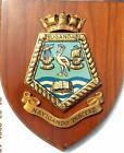 Vintage Falklands HMS SS UGANDA Royal Navy Ship Badge Crest Shield Plaque b