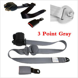 Retractable 3 Point Grey Seatbelts Car Seat Safety Belts W/ Curved Rigid Buckle