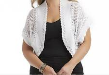 Women's fall Spring Summer White Crochet Open-Front Shrug jacket top plus 2X new