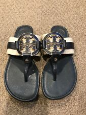 Tory Burch Navy Blue Leather And Beige Tweed Miller Sandal- Size 7.5