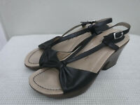 Women's DANSKO NAOMI 8.5 9 39 Black Leather Ankle Strappy Wedge Heels Sandals