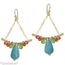 Mustique 213~ Turquoise, Ruby, Garnet Wrapped Earrings with Metal Choice