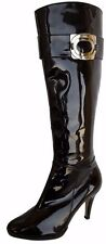 TAHARI 'Lassie' Black Patent Knee High Heel Boots Womens Size 6.5