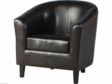 Seconique Tempo Tub Chair - Expresso Brown Faux Leather with Wooden Feet